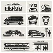Taxi service set — Stock Vector