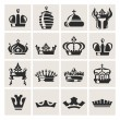 Crown icons set — Stock vektor