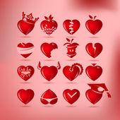Conjunto de coração símbolo, vetor — Vetor de Stock