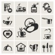 Cafe icon set - Vettoriali Stock