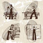 Vector illustration of a carpenter — Stock Vector
