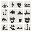 Set of icons. fishing — Stock Vector #23103488