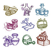 Set of icons. Author's illustration in vector — Stock Vector