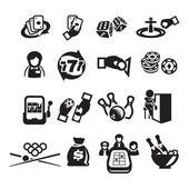 Casino set d'icônes — Vecteur