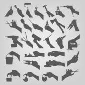 Silhuetter av händer — Stockvektor