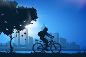 Silhouette of girl on bicycle — Stock Photo
