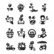Flower shop icons — Stock Photo