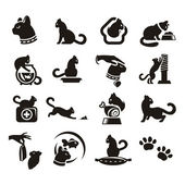 Silhouettes of cat — Stock Vector