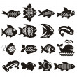 Fish icons set — Stock Vector