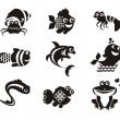 Stylized marine animals on a white background — Stock Vector
