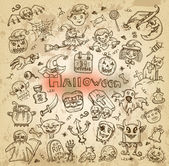 Halloween. Hand-drawn icons — Stock Vector