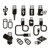 USB icons. Vector format — Stock Vector