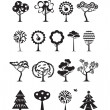 Tree icons. Vector format — Stock Vector