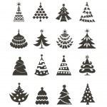 Christmas tree icons — Stock Vector