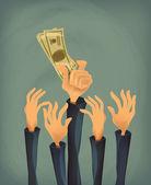 Money in hand. Vector format — Stock Photo