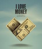 Heart. I love money. Vector format — Stock Vector