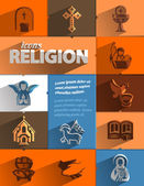 Religion icons. Vector format — ストックベクタ
