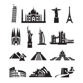 World sights icons. Vector format — Stock Vector