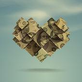 Heart. Dollar. Vector Format — Stock Vector