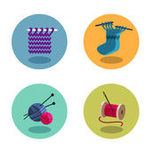 Knitting icons — Stock Vector
