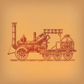 Steam locomotive. Vector format — Stock Vector