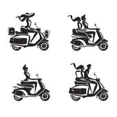 Scooter icons. Vector format — Stock Vector