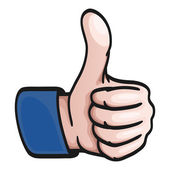 Comic Hand - thumbs up — Stock Vector