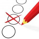 Choice: red pencil with cross — 图库矢量图片 #46636773