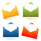 Collection of open envelopes and white paper — Stock Vector