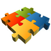 Puzzle with four parts - Teamwork symbolism — Vetorial Stock