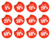 Discount Stickers - red — Stock Vector