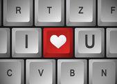 """Computer keyboard """" I Love U """" — Stock Vector"""