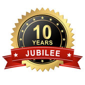 Jubilee Button with Banner - 10 YEARS — Stock Vector