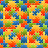 Puzzle pieces background colored - endless — Stok Vektör