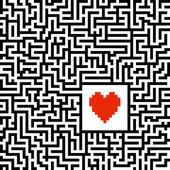 Maze with heart — Stock Vector