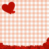 Checkered pattern with red hearts — Stock Vector
