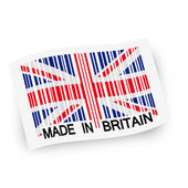 Flag with barcode -  MADE IN BRITAIN — Stock Vector
