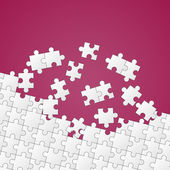 White puzzle pieces on color background — Stock Vector