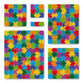 Puzzle Set - colored - 6 puzzles — Stock Vector