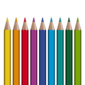9 colored pencils in a row — Stock Vector