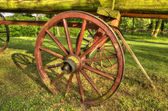Old wooden wagon in the park decoration — Stock Photo