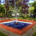 Wickerwork - wicker enclosed fountain pump — Stock Photo #21617197