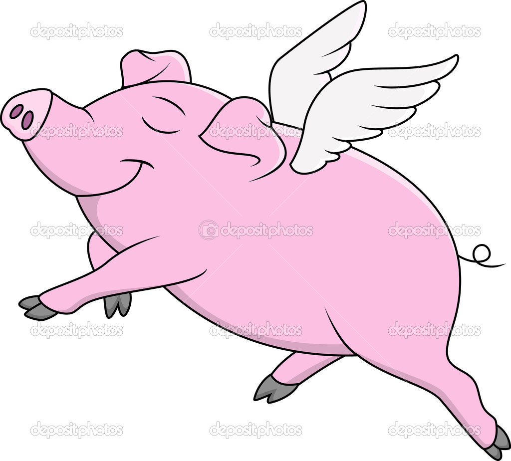 Pig Flying Cartoon — Stock Vector © idesign2000 #10661442