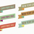 Stock Vector: Retro christmas and new year sale banners and tags