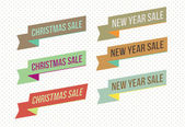 Retro christmas and new year sale banners and tags — Stock Vector