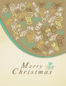 веселая рождественская открытка с элементами — Cтоковый вектор