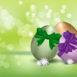 Royalty-Free Stock Vector Image: Easter eggs on green background