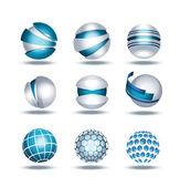 Globe sphere 3d icons set vector illustration — Stock Vector