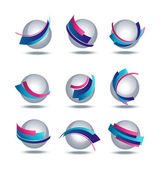 Abstract 3d icon set with colorful stripes — Stock Vector