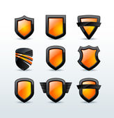 Set of black shiny shield icons vector illustration — Stock Vector